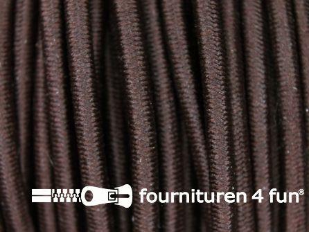 Rol 50 meter elastisch koord 3mm donker bruin