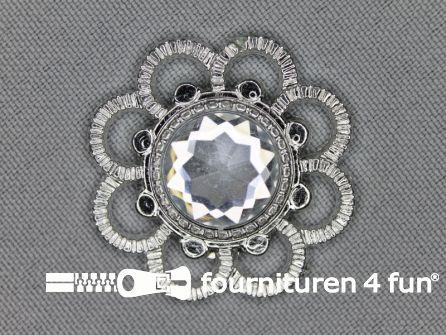 Strass steen 33mm bloem zilver