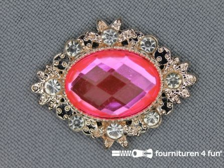 Broche metaal 26x33mm barbie roze