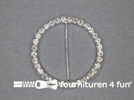 Strass stenen gesp 38mm rond zilver