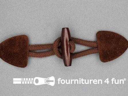Suede houtje touwtje 150x40mm licht bruin