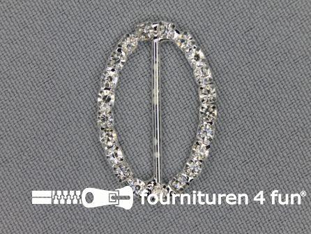 Strass stenen gesp 22mm ovaal zilver