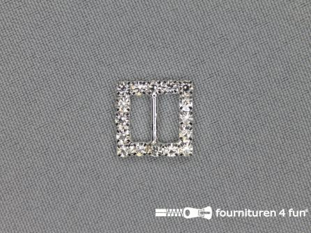 Strass stenen gesp 9mm vierkant zilver