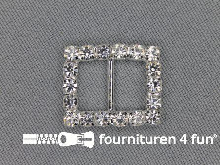 Strass stenen gesp 10mm rechthoek zilver
