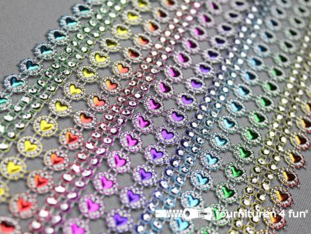 Strass band 110mm hartjes multicolor-zilver 90CM.