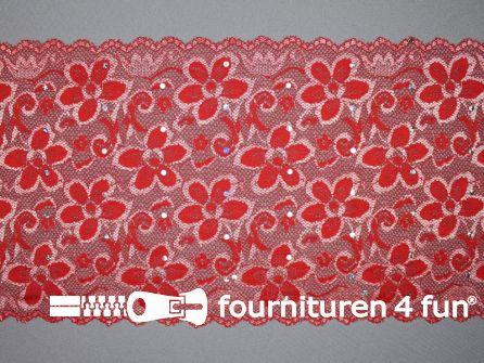 Elastisch kant met pailletten 185mm rood