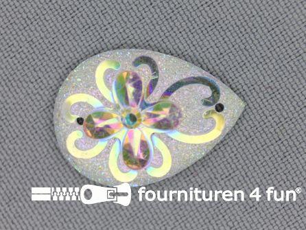 Strass steen druppel 25x17mm wit ''flower''