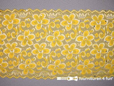 Elastisch kant met pailletten 185mm geel