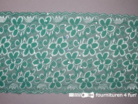 COUPON 1,60 meter Elastisch kant met pailletten 185mm turquoise groen - B-KEUZE