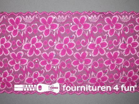 Elastisch kant met pailletten 185mm fuchsia roze