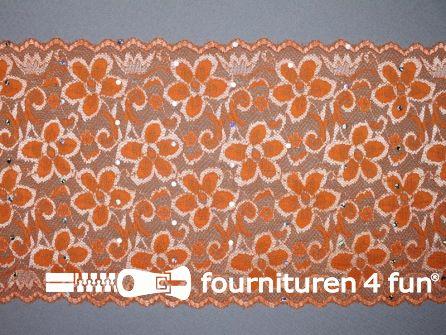 COUPON 1,50 meter Elastisch kant met pailletten 185mm oranje