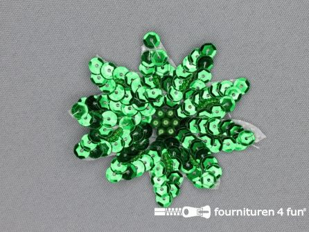 Pailletten applicatie 70x70mm bloem groen