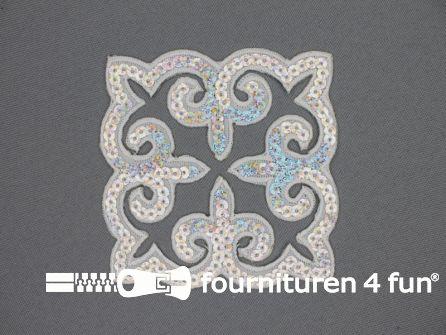 Pailletten applicatie 90x90mm vierkant zilver hologram