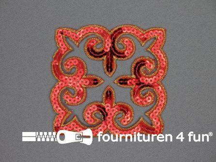 Pailletten applicatie 90x90mm vierkant rood - goud
