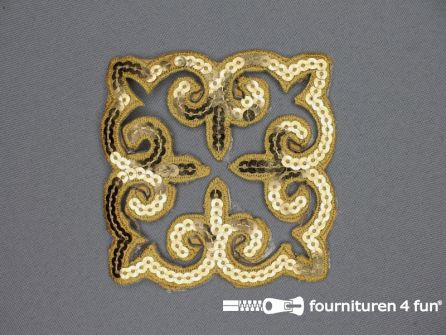 Pailletten applicatie 90x90mm vierkant goud