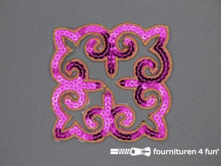 Pailletten applicatie 90x90mm vierkant fuchsia roze - goud