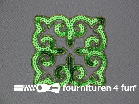 Pailletten applicatie 90x90mm vierkant groen - goud