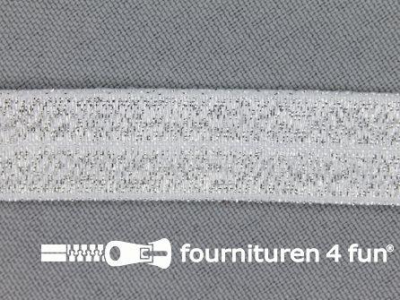 Elastische lurex biasband 16mm zilver