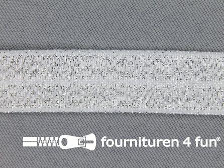 Rol 25 meter elastische lurex biasband 16mm zilver
