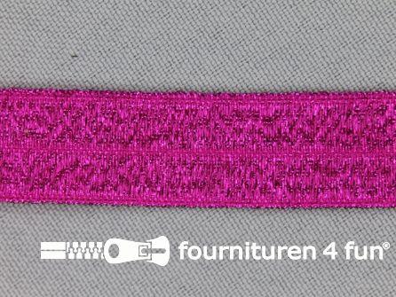 Elastische lurex biasband 16mm fuchsia