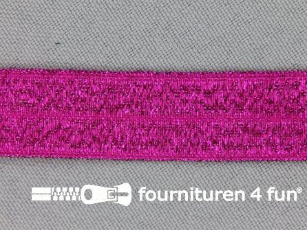 Rol 25 meter elastische lurex biasband 16mm fuchsia