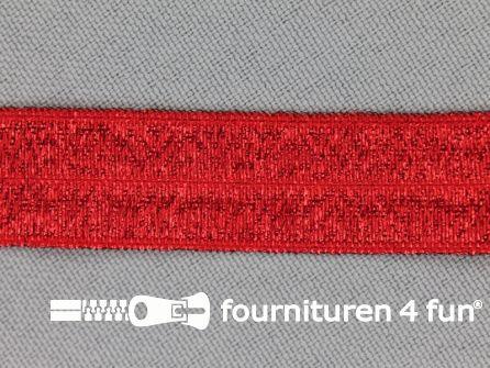 Elastische lurex biasband 16mm rood