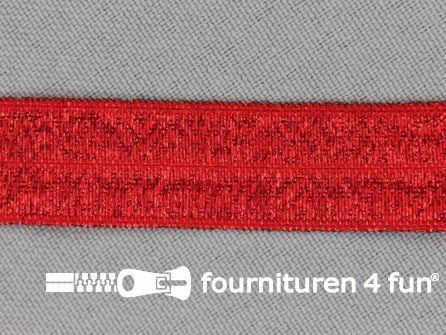 Rol 25 meter elastische lurex biasband 16mm rood