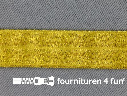Elastische lurex biasband 16mm geelgoud