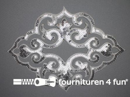 Pailletten applicatie 290x200mm extra large zilver