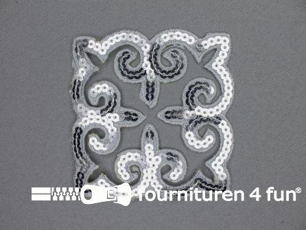 Pailletten applicatie 90x90mm vierkant zilver