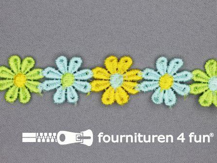 Bloemenkant 25mm groen-geel-blauw