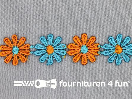 Bloemenkant 24mm blauw-oranje