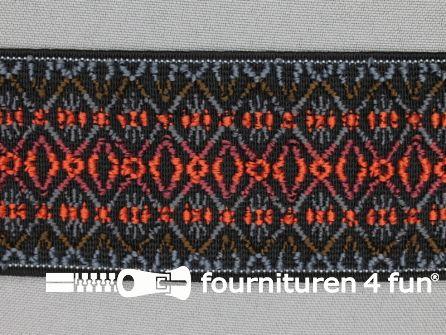Elastiek multicolor 50mm zwart grijs oranje bruin