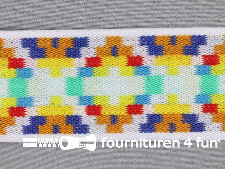 Elastiek multicolor 50mm wit blauw oranje