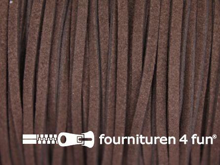 Suedine koord 3mm donker bruin 5 meter