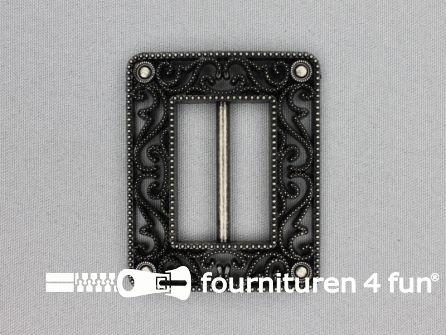 Steam punk gesp 40mm zwart - zilver