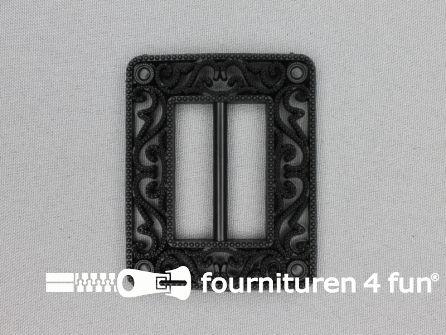 Steam punk gesp 40mm mat zwart