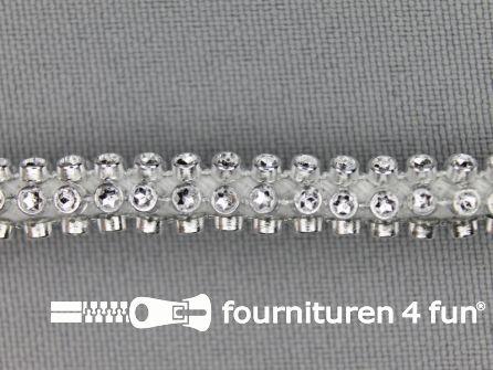 Strass koord 6mm zilver