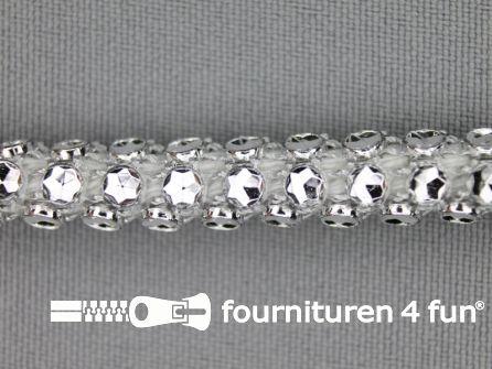 Strass koord 8mm zilver