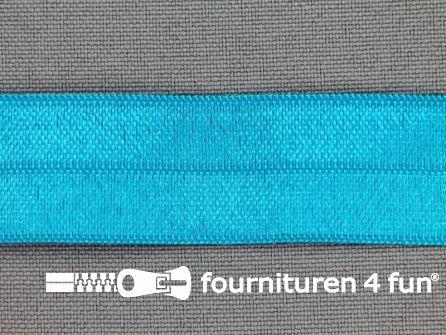 Rol 25 meter elastische biasband 20mm aqua blauw