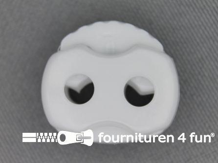 Koord stopper 22mm dubbel wit