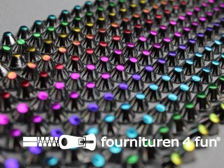 Strass band 95mm spikes multicolor - zwartzilver