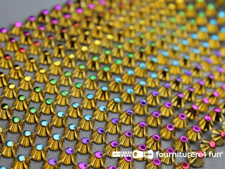 Strass band 95mm spikes multicolor - goud