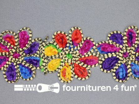 Jacquard band 65mm multicolor bloem