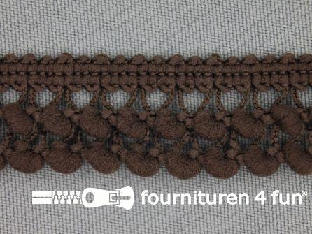 Mini bolletjesband 19mm donker bruin