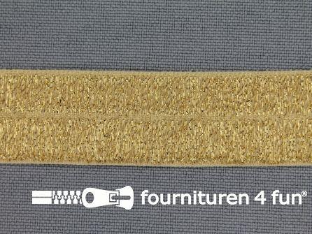 Elastische lurex biasband 19mm goud