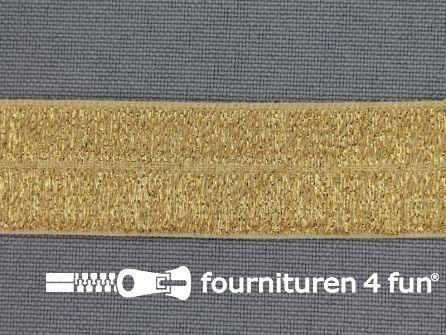 Rol 25 meter elastische lurex biasband 19mm goud
