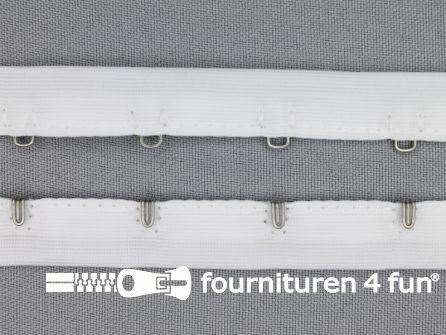 Haken- en ogen band 14mm wit