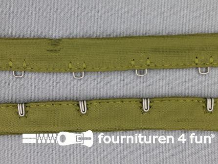 Haken- en ogen band 14mm leger groen
