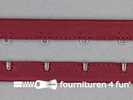 Haken- en ogen band 14mm bordeaux rood